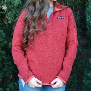 PATAGONIA Better Sweater 1/4 Zip Pullover Red T48